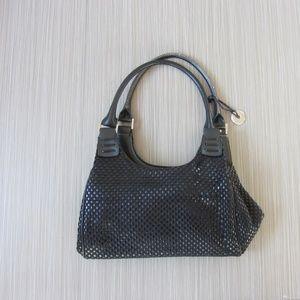 The Sak Black Leather Woven Shoulder Bag Purse